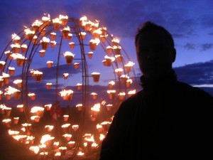 Mark in front of the flaming ball