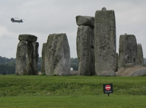Chinook over the stones