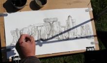 Stonehenge and the artist's hand